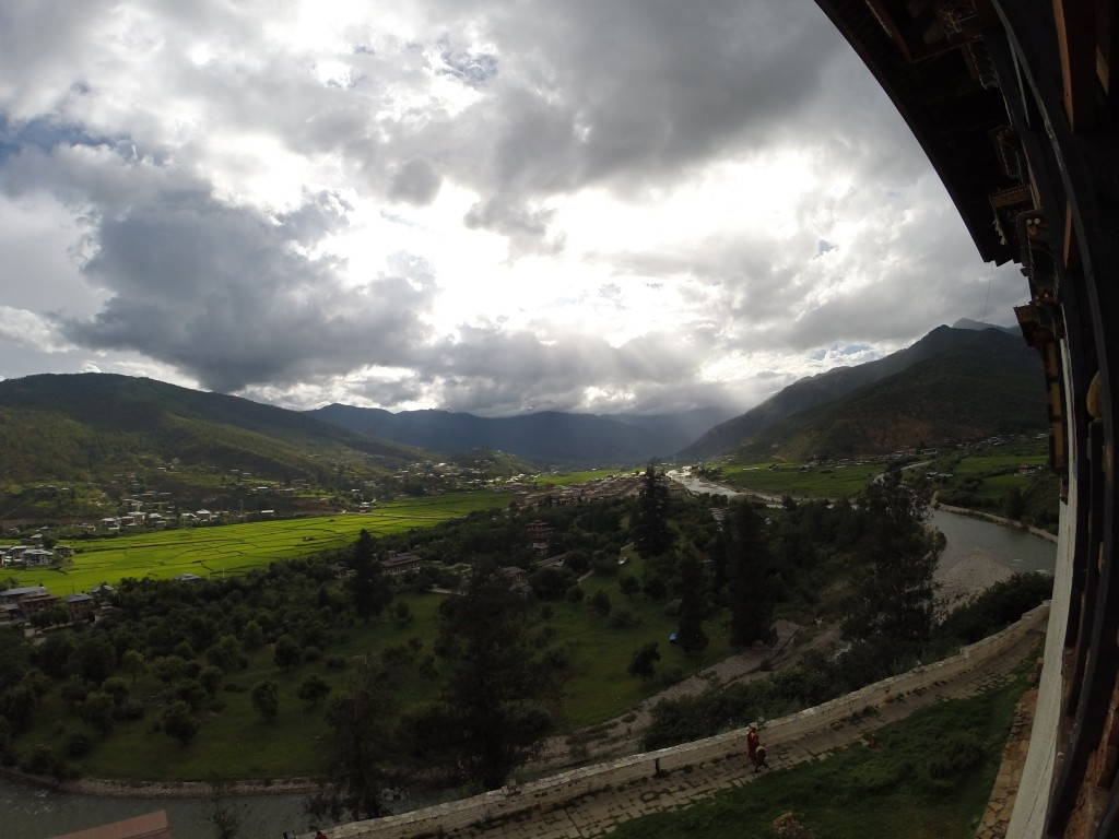 The view of Paro Valley from Paro Dzong